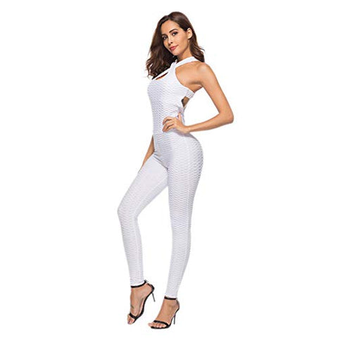 Xinantime Womens One-Piece Sport Yoga Jumpsuit Running Fitness Workout Gym Tight Pants (White,XL)