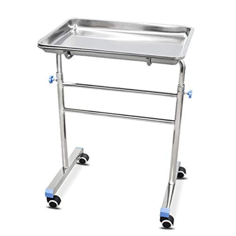 HORV Stainless Steel Doctor Tattoo Spa Salon Equipment Procedure Trolley with Lift Out Work Tray Mobile Instrument Cart