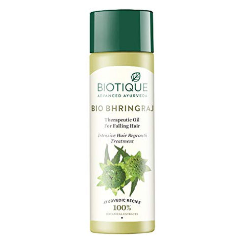 Biotique Hair Growth Bhringraj Oil For Falling Hair 120 Ml/4.06Oz. I For Intensive Hair Regrowth I Promotes The Growth Of Healthy Hair And Improves Its Overall Texture And Volume
