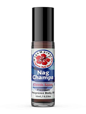 WagsMarket - Nag Champa Perfume Oil, from 0.33oz Roll On to 4oz Glass Bottle (0.33oz Roll On)