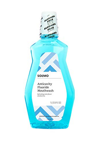 Amazon Brand - Solimo Anticavity Fluoride Mouthwash, Alcohol Free, Refreshing Mint, 1 Liter, 33.8 Fluid Ounces, Pack of 4