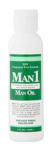 Man1 Man Oil - 4 oz. Penile Health Cream - 3-Month Supply - Treat Dry, red, Cracked or Peeling penile Skin and Improve penile Sensation