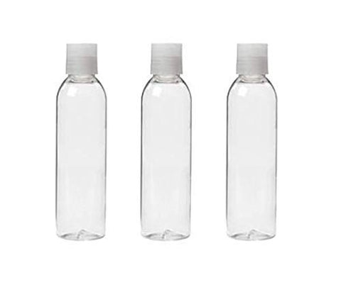 6 Oz Clear Dispensing Bottles with Natural Flip Up Disc Caps, 180ml EMPTY Plastic SQUEEZE BOTTLE for Gel, Lotion, Shampoo by Grand Parfums (Pack of 3)