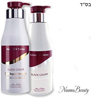 Mon Platin Black Caviar Natural Silk Therapy Shampoo and Conditioner Set (2 items) : Total Repair Shampoo For Dry / Colored Hair & Total Reviving Conditioner (17oz/500ml each)