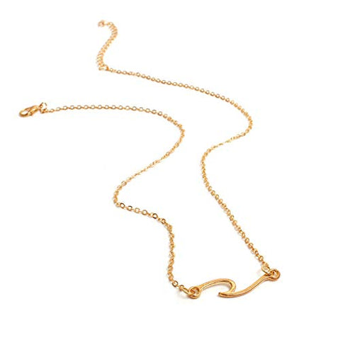 Jovono Wave Pendant Necklaces Dainty Necklace Fashion Chain Jewelry for Women and Girls (Gold)