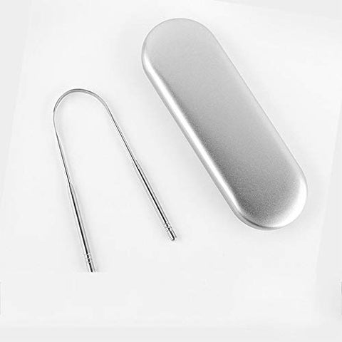 YQK U-Shaped Tongue Coating Cleaning Instrument, Stainless Steel Material, Good Effect for Removing Tongue Coating, Removing Bad Breath, Protecting Oral Health (with Storage Box)