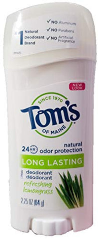 Tom's of Maine, Long Lasting Deodorant, Refreshing Lemongrass, 2.25 oz (64 g)(pack of 2)