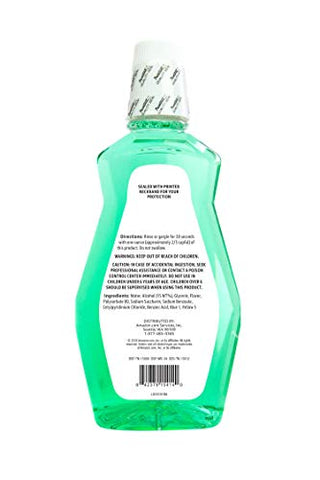 Amazon Brand - Solimo Mint Mouthwash, Fresh Mint, 1 Liter, 33.8 Fluid Ounces, Pack of 1