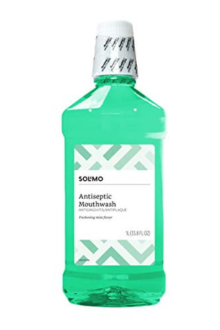 Amazon Brand - Solimo Antiseptic Mouthwash, Mint, 1 Liter, 33.8 Fluid Ounces, Pack of 1