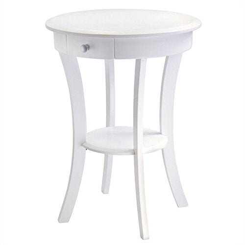 Pemberly Row Wood Round Accent Table With Drawer Curved Legs In White