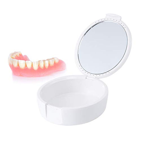 ARTIBETTER Denture Storage Container 2pcs Denture Case with mirror, Denture Bath Case Cup, Mouth Guard Case, Retainer Cases for Travel Cleaning (White/Black)