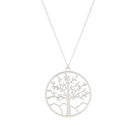 Yalice Tree of Life Necklace Chain Long Pendant Necklaces Drop Dress Jewelry for Women and Girls (Silver)