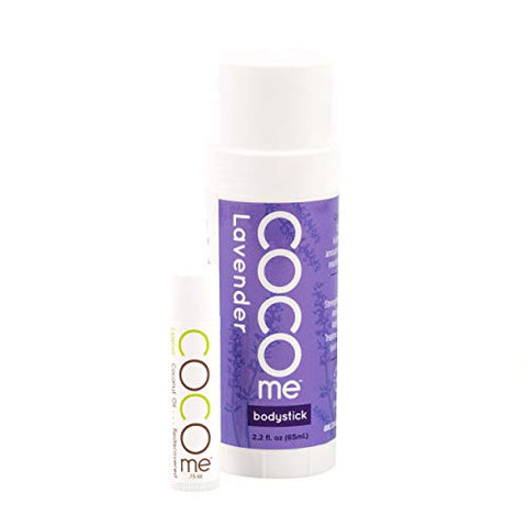 CocoMe - Organic Moisturizing Lavender Body Stick and Lip Balm Duo - Virgin Coconut Oil and Anti-Aging Beeswax for Skin Repair and Protection. Dermatologist Recommended.