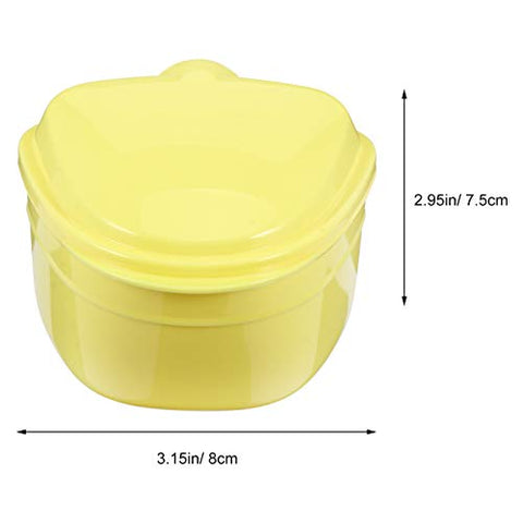 ARTIBETTER Denture Box Plastic Denture Bath Case Cup with Brush Denture Cleaning Soaking Cup with Strainer Mouth Guard Night Gum Retainer Container for Travel Yellow