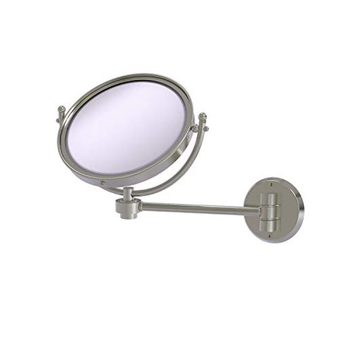 Allied Brass WM-5/5X 8 Inch Wall Mounted 5X Magnification Make-Up Mirror, Satin Nickel