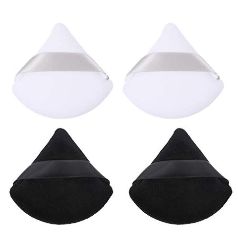 PIXNOR 12pcs Powder Puff Cotton Triangle Loose Makeup Powder Apply Puff Comestic Foundation Applicator Makeup Tool with Ribbon Handle for Contouring Under Eye White Black
