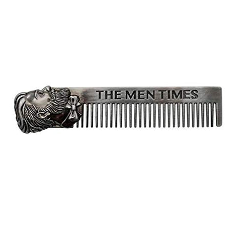 HEALLILY 1pc Stainless Steel Beard Comb Metal Barber Comb Mustache Hair Comb Barber Pocket Grooming Comb for Beard Trimming Styling and Shaping