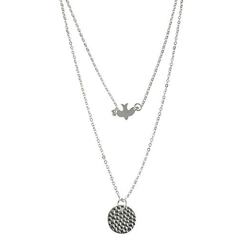 Jovono Fashion Multilayered Dove Pendant Necklaces Sequin Chain Jewelry for Women and Girls (Silver)