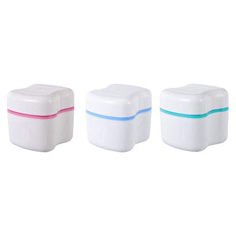 Healifty 3pcs Orthodontic Retainer Case with Mirror Denture Storage Container with Stainer Denture Bath Case False Teeth Soak Container Holder for Travel Cleaning