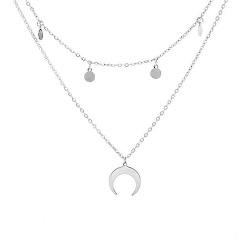Jovono Boho Multilayered Crescent Moon Pendant Necklaces Fashion Sequins Necklace Chain Jewelry for Women and Girls (Silver)