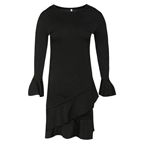 KASAAS Loose Ruffley Mini Dress for Women Crewneck Flare Long Sleeve Solid Black Ladies Casual Dresses(Large,Black)