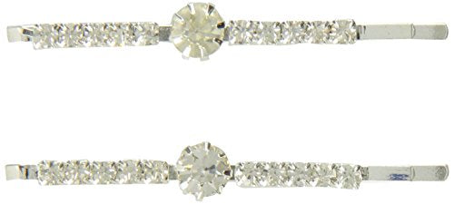 Caravan Stud Crystal Center On Crystal Jeweled Rhinestone Bobby Pins Pair