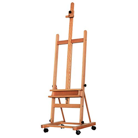 Large H-Frame Adjustable Rolling Easel Wood Studio Easel with Casters Wheels |48