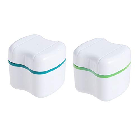 Exceart 2 Pcs Denture Bath Box Case False Tooth Retainer Case Teeth Holder with Mirror Dental Retainer for Travel,Non-Toxic and No Smell (Green)