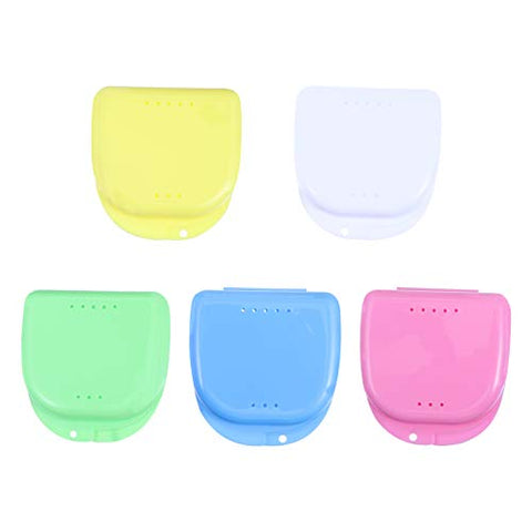 HEALLILY Retainer Box Dentures Box Braces Box Orthodontic Denture Storage Container 5pcs (Assorted Color)