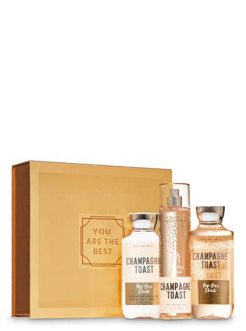 Bath and Body Works CHAMPAGNE TOAST Gift Box Set - Body Lotion, Fine Fragrance Mist & Shower Gel arranged in an easel-style gift box with a ribbon. Full Size