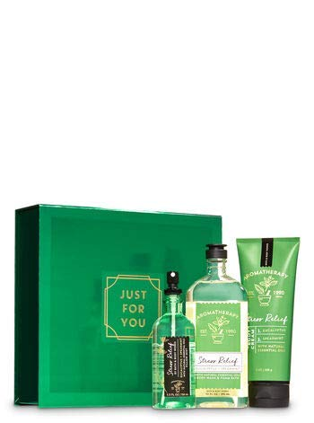 Bath and Body Works Aromatherapy Stress Relief EUCALYPTUS SPEARMINT Gift Box Set 3 pc arranged in an easel-style gift box with a coordinating ribbon.