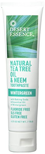 Desert Essence Natural Tea Tree Oil Wintergreen Toothpaste, 6.25 Ounce - 2 per case.
