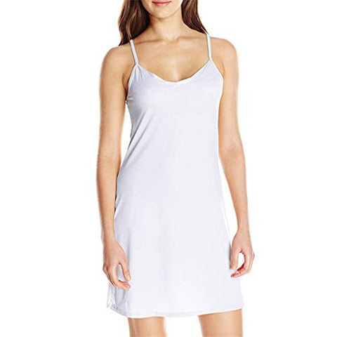 Xinantime Womens Ladies Sleeveless Solid Colour Above Knee Dress Loose Party Dress (White,2XL)