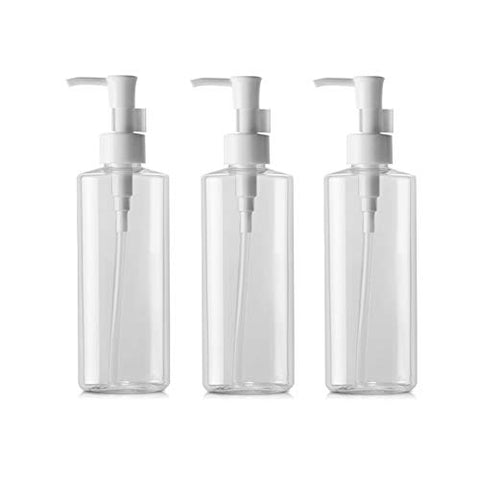 Empty Refillable Transparent Travel Bottles Pump Bottle Lotion Cream Cleansing Oil Dispenser Bottle Toiletries Bottles Make Up Cosmetic Container Holder Pack of 3 (150ml)