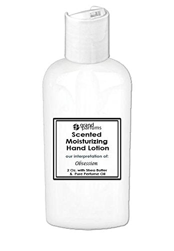 Grand Parfums 2 Oz Moisturizing Hand Lotion with Shea Butter (Obsession) Scented Hand Cream Spa Product, Travel Size Paraben Free