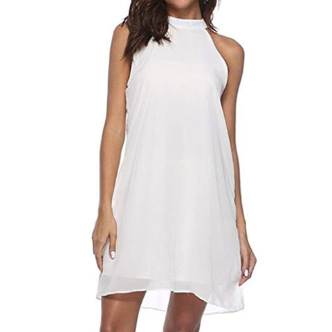 terbklf Mini Dresses for Women Casual Summer Ladies Beach Dress Sexy Halter Chiffon Dresses Party Club Dress for Women White