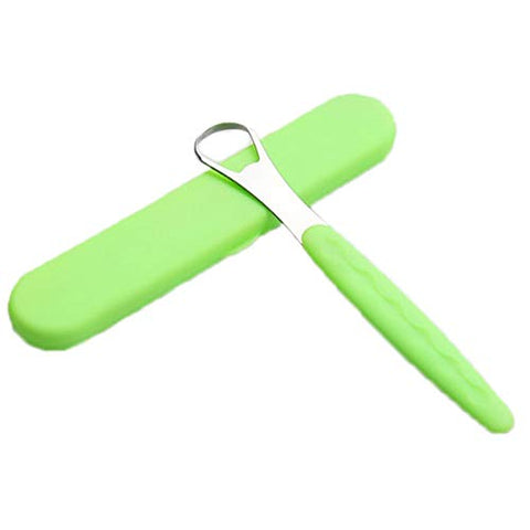 1pc Stainless Steel Scraper Scraper for Adult Fresh Breath with Portable Suitcase Tongue Cleaner Oral Tongue Brush (Color : Green)