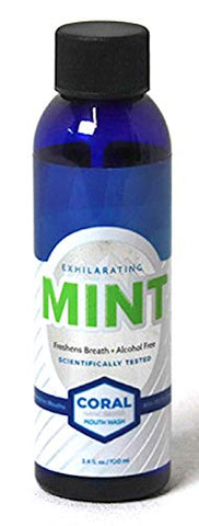 Coral Nano Silver Xylitol Mint Mouthwash, Alcohol and Fluoride Free, Helps Soothe Mouth Sensitivity and Prevents Bad Breath 3.4 Ounce