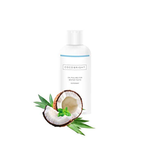 COCOBRIGHT Coconut Organic Oil Pulling Mouthwash (3.38 Fl Oz) - Organic Coconut Teeth Whitening Coconut Pulling Oil for Healthy Teeth - Coconut Oil Natural Sesame Oil and Peppermint Oil Mouthwash