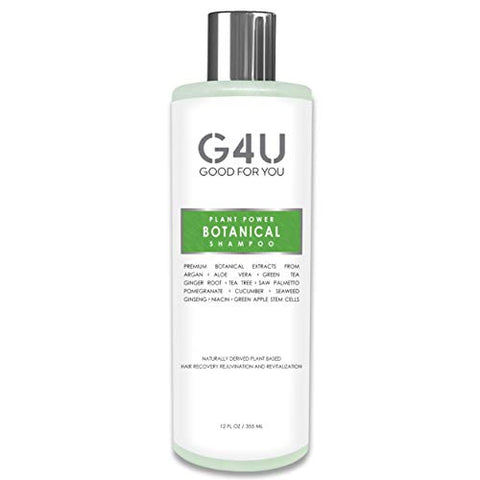 G4U Botanical Shampoo for Hair Loss, Hair Growth and Thinning Hair. Sulfate Free, Plant Based, Natural, Gentle and Mild with DHT Blockers For Men and Women, All Hair Types, Colored Hair. 12 oz