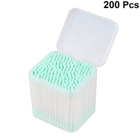 Healifty 200PCS Disposable Cotton Swabs Double Dual Tipped Cotton Swabs Safe Applicator Cleaning Paper Stick Ear Cosmetic Cotton Buds (Green)