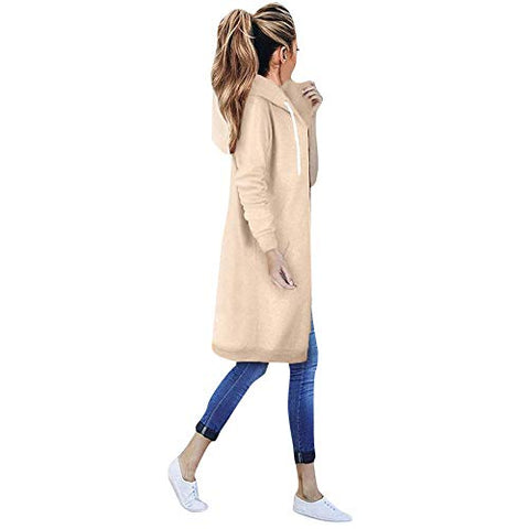 Jushye_Coat Plus Size Outwear,Jushye Women Warm Zipper Open Hooded Solid Coat Sweatshirt Long Coat Jacket with Pockets (XXXXXL, Khaki)