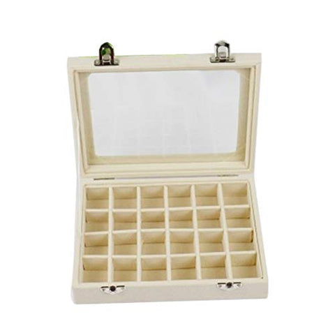 bromrefulgenc Jewelry Box Organizer Storage Case,24 Slots Wooden Transparent Cover Buckle Jewelry Storage Box Organizer for Rings Earrings Necklace Beige
