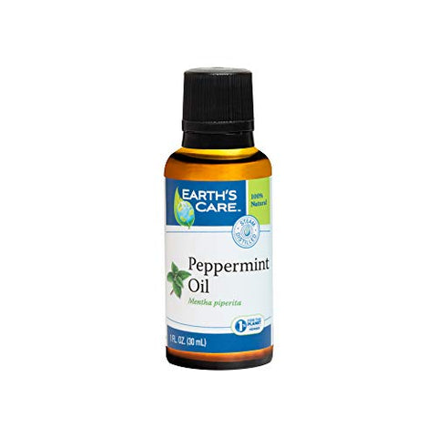 Earth's Care Pure Peppermint Essential Oil, Steam-Distilled, Bottled in USA 1 Fl. OZ.