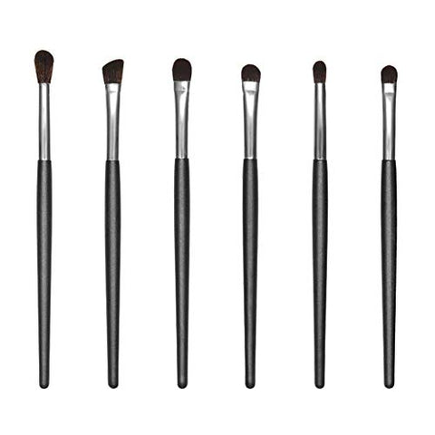 JessLab 6pcs Eye Brush Set, 6 Pieces Wooden Handle Makeup Eyeshadow Essentials Brush Collection Kit for Eyeshadow Blending Contour, Synthetic Bristles