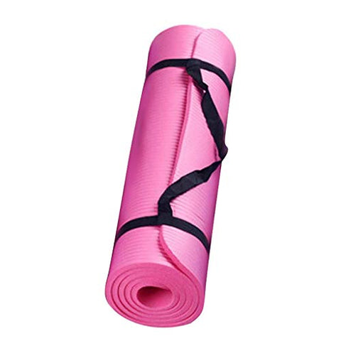 All-Purpose Yoga Mat- Extra Thick High Density Anti-Tear Fitness Exercise Yoga Mat with Carrying Strap Non Slip Excercise Sports Mat for Yoga for Men & Women (Red)