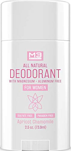 M3 Naturals All Natural Deodorant for Women with Magnesium, Apricot and Chamomile - Long-Lasting, Non-Toxic, Aluminum Free, Baking Soda Free, Paraben Free, Sulfate Free, Gluten Free 2.5 oz