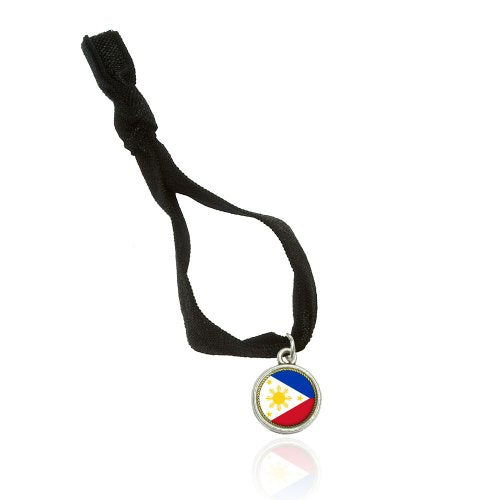 Flag of Philippines Bracelet Double Fold Over Stretchy Elastic No Crease Hair Tie with Charm