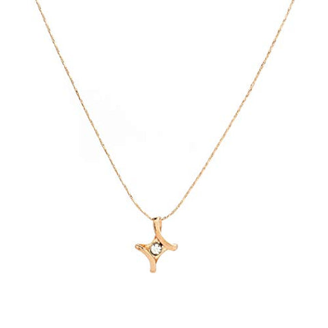 Jovono Simple Cross Pendant Necklaces Dainty Crystal Necklace Fashion Chain Jewelry for Women and Girls (Gold)