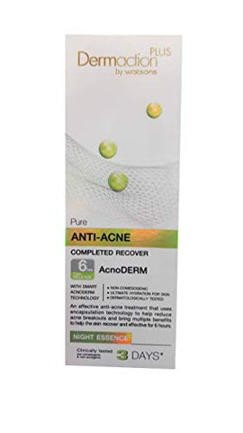 Dermaction Plus by Watsons Pure Anti-Acne Completed Recover Night Essence. Acne Control. Breakthrough Acne Solution. (40 ml/pack).